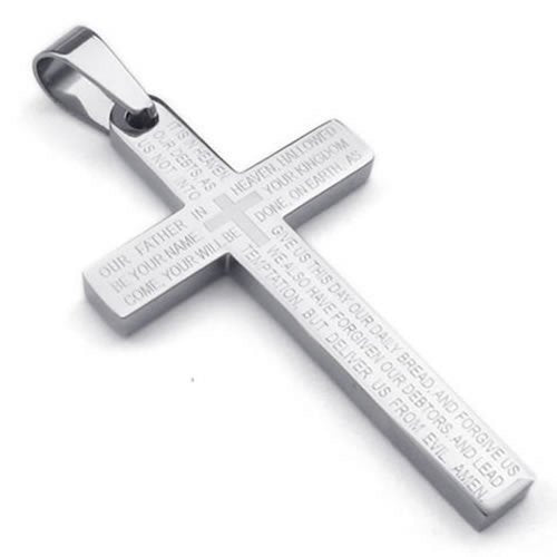 Stainless Steel Men Lords Prayer Cross Pendant Necklace, Silver, 24 inch Chain