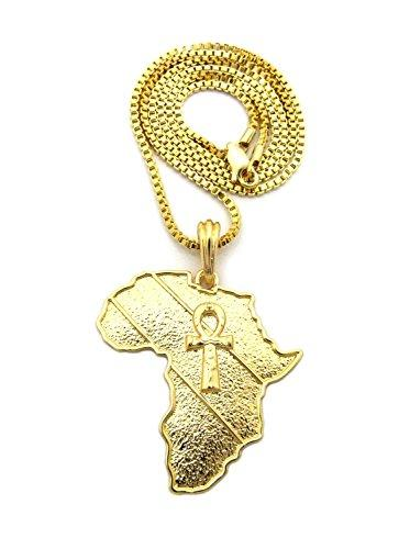 Gold Textured Ankh Cross in Africa Map Shape Pendant Chain Necklace