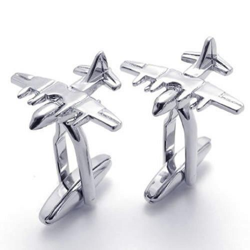 2pcs Rhodium Plated Classic Personalized Fighter Plane Shirts Men Cufflinks, Silver, 1 Pair