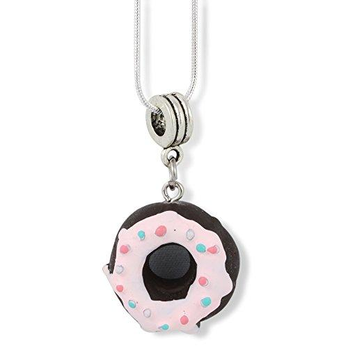 Donut ( Black with White Icing and Sprinkles ) Charm Snake Chain Necklace