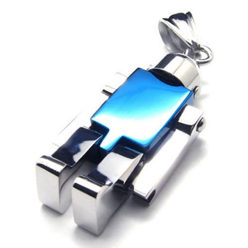 Robot Stainless Steel Men Women Necklace Pendant, Silver Blue, 24 inch Chain - InnovatoDesign
