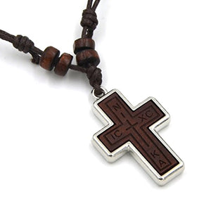 Silver Alloy Celtic Symbol Cross Pendant Braided Brown Leather Ethnic Necklace