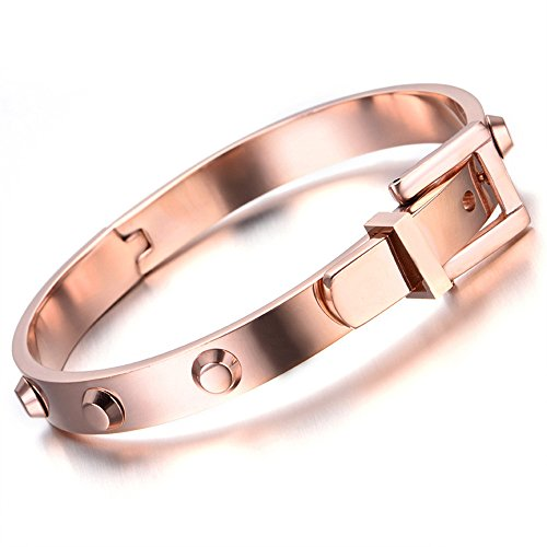 Stainless Steel Women Unisex Men Bracelet, Bangle, Belt Style, Rose Gold - InnovatoDesign