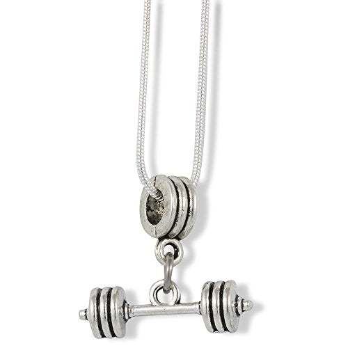Small Straight Dumbell Charm Snake Chain Necklace