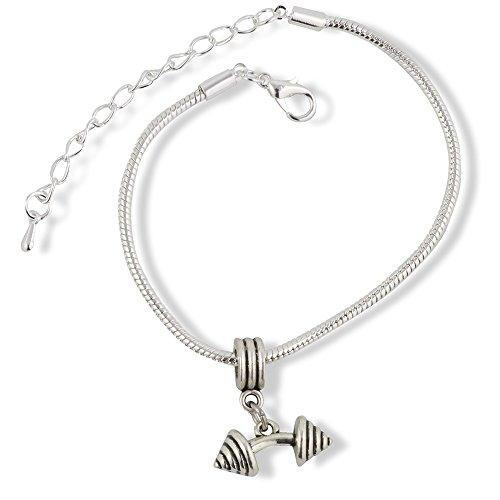 Bent Barbell Dumbell Weights Snake Chain Charm Bracelet