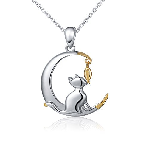 Two Tone 925 Sterling Silver Crescent Moon Cat with Dangling Fish Pendant Necklace for Women Jewelry, 18 - InnovatoDesign