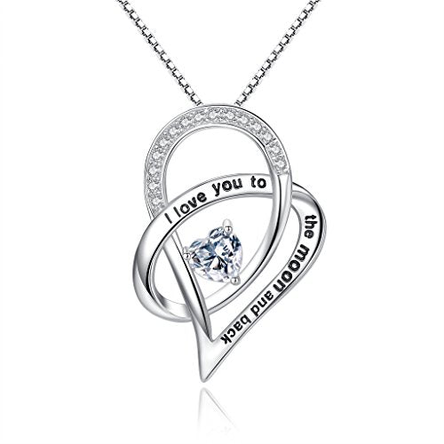 Sterling Silver Cubic Zirconia Entwined Love Heart Pendant Necklace