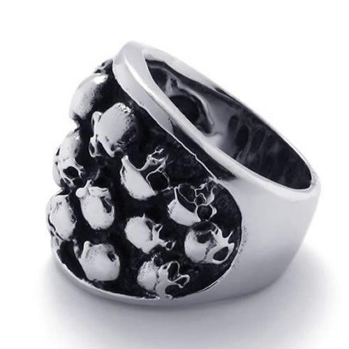 Gothic Stainless Steel Skull Biker Men Ring Black