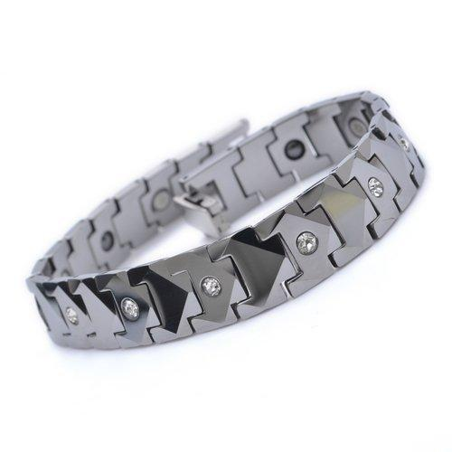 12mm Silver Crystal Tungsten Magnetic Hematite Mens Bracelet 8.5""