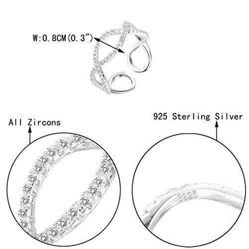 925 Sterling Silver CZ Figure 8 Infinity Engagement Wedding Cuff Ring Clear