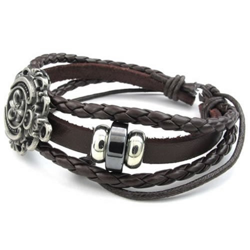 Men Women Leather Bracelet, Fleur De Lis Charm Bangle, Fit 7-9 inch, Brown