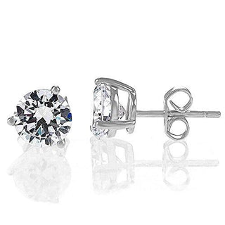 """Hearts & Arrows"" Simulated Diamond CZ Stud Earrings 3-Prong Setting D Color, VVS Clarity"