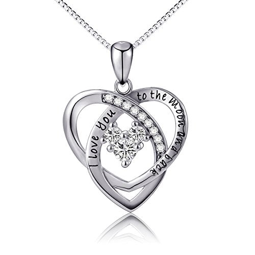 Sterling Silver Round CZ Love Endless Heart Pendant Necklace