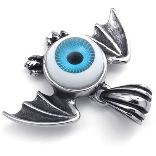 Stainless Steel Bat Wing Evil Blue Devil Eye Pendant Men Necklace, 24 inch Chain - InnovatoDesign