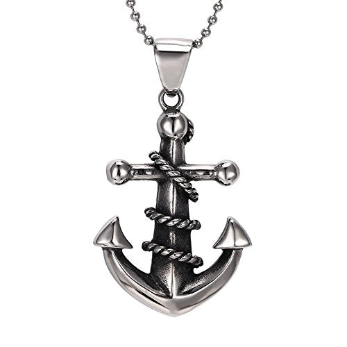 "Men's 316L Stainless Steel Large Heavy Rope Anchor Biker Pendant Necklace, 24"" Chain - InnovatoDesign"