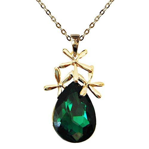 "18k Gold Plated Crystal Leaves Green Pear-shaped Zirconia Az6348p Pendant Necklace 16""+2"""