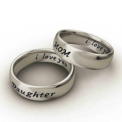 Mother Daughter Son Jewelry Antique Family Band Rings Set Engraved ' I love you' - InnovatoDesign