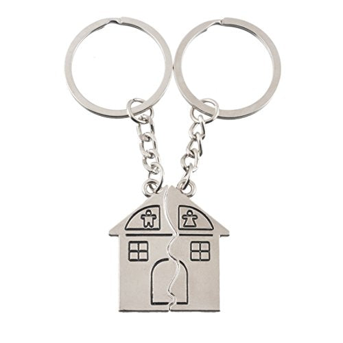 Women Pendant Tag Form House Couple Lovers Keychain Ring Set of 2 - InnovatoDesign