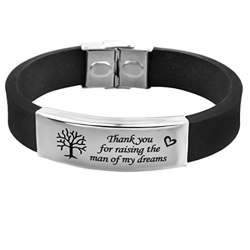 "Punk ""Thank you for raising the man of my dreams"" PU Leather Clasp Bracelet - InnovatoDesign"