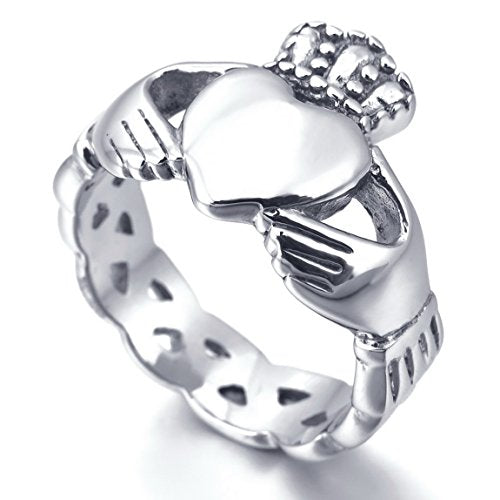 Women,Men's Stainless Steel Ring Silver Tone Irish Celtic Knot Irish Claddagh Friendship Love Heart Royal King Crown - InnovatoDesign