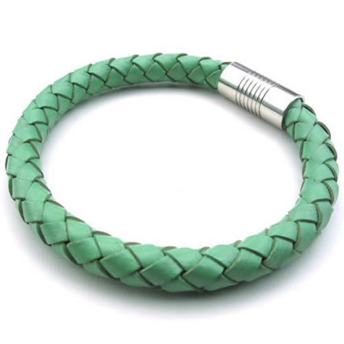 "Men 8mm Green Leather Cuff Bracelet Magnetic Stainless Steel Clasp - 8"" 8.5"" 9"" - InnovatoDesign"