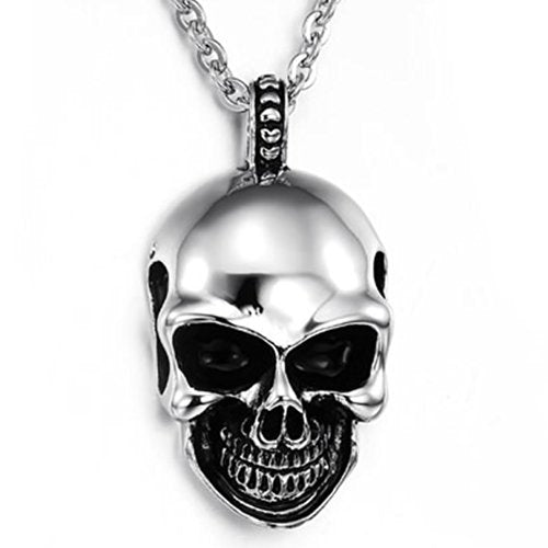 Men Gothic Skull Stainless Steel Pendant Necklace, Silver Black, 24 inch Chain