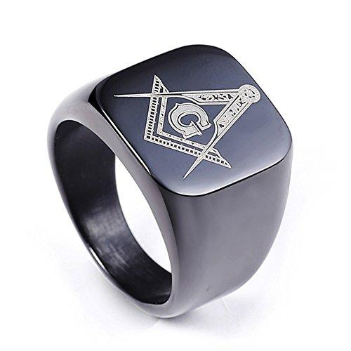DDOLAA Jewelry Retro Hip Hop Style Black Titanium Steel Plated Masonic AG Icons For Men's Rings