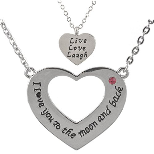 Mom and Daughter Heart Necklace with Engraving