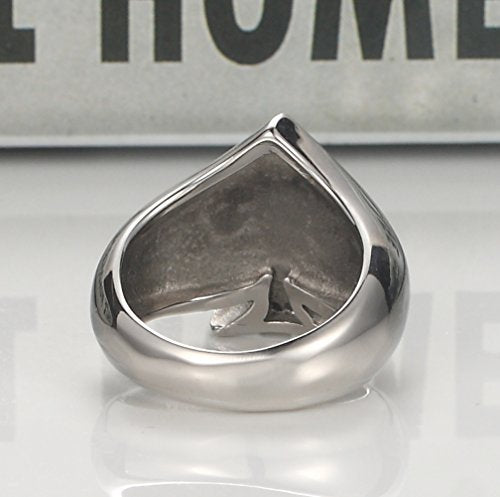 Men's Stainless Steel Ring Silver Tone Black Ace of Spades Poker Card Epoxy Band - InnovatoDesign