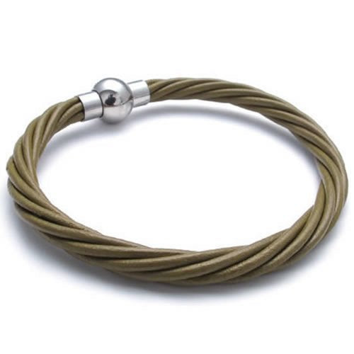 Men Dark Green Leather Bracelet Magnetic Stainless Steel Clasp, 6mm, 7 8 9 inch - InnovatoDesign