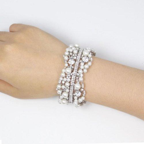 Austrian Crystal Simulated Pearl Bridal Flower Stretch Bracelet Clear Silver-Tone