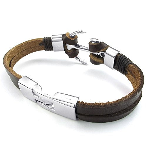 Men Women Leather Bracelet, Anchor Cuff Bangle, Brown Silver