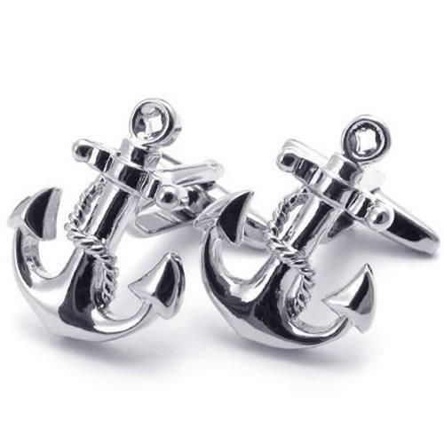 2 Pcs Rhodium Plated Classic Anchor Men Shirts Cufflinks Wedding, Silver, 1 Pair