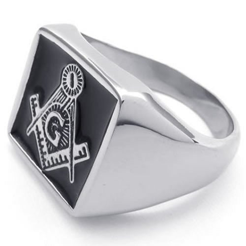 Stainless Steel Embossed Stamped Freemason Masonic Men Ring - InnovatoDesign