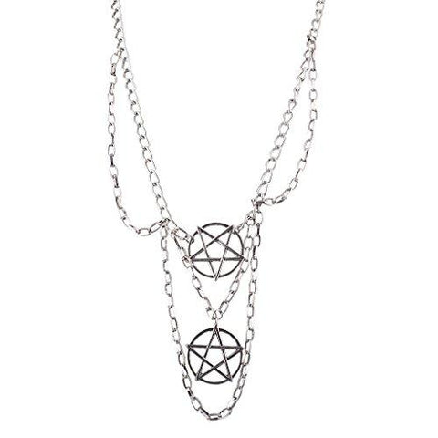 Contemporary Burnished Silver Layered Pentagram Chain Necklace