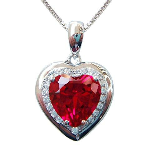 925 Sterling Silver 18k White Gold Plated 3.7ct Heart Ruby Az9078p Necklace Pendant 16""