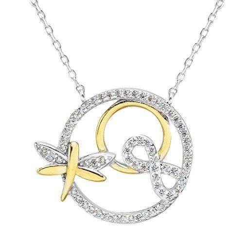 925 Sterling Silver CZ Elegant Figure 8 Infinity Dragonfly Pendant Necklace Clear