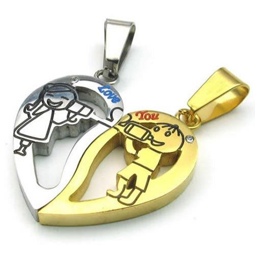 2pcs Men Women Couples Heart Stainless Steel Pendant Love Necklace, 18 & 22 inch Chain, Gold