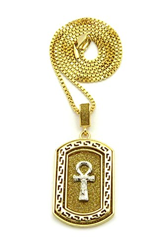 Gold Silver Sparkled Egyptian Ankh Dog Tag Pendant Chain Necklace