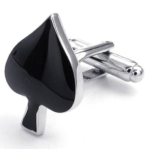 2 Pcs Rhodium Plated Men Poker Playing Cards Spade Shirts Cufflinks, Wedding, Black Silver, 1 Pair
