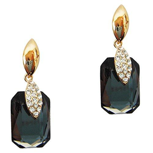18k Gold Plated Crystal Gray Square Zircon Drop Dangle Earrings