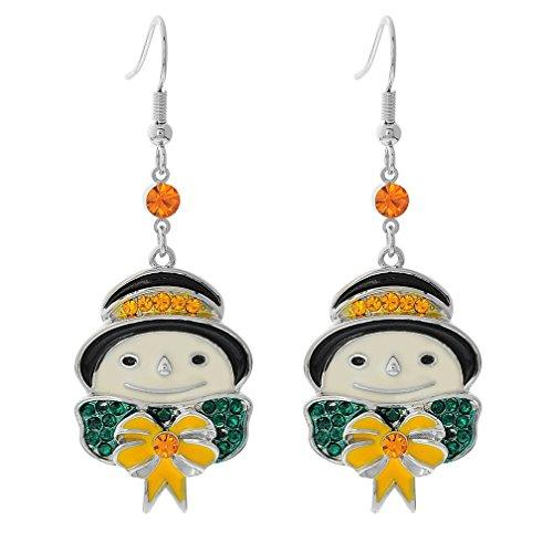 Christmas Snowman With Hat Tree Bow Enamel Rhinestones Hook Long Dangle Ear Drop Party Earrings
