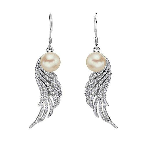 925 Sterling Silver CZ 9MM AAA Freshwater Cultured Pearl Angle Wings Hook Dangle Earrings