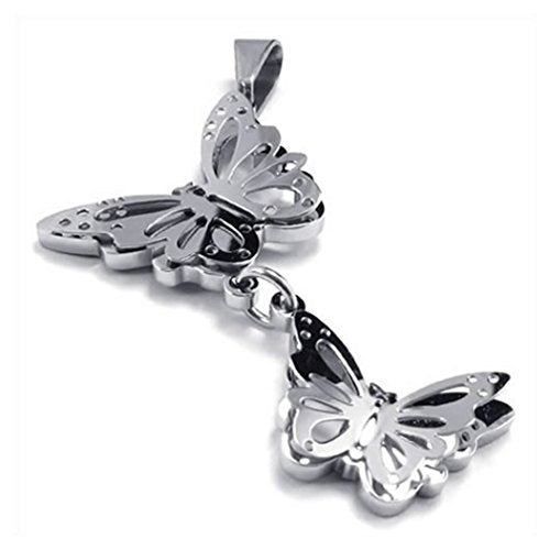 Women Stainless Steel Butterfly Pendant Necklace, Silver, 24 inch Chain - InnovatoDesign