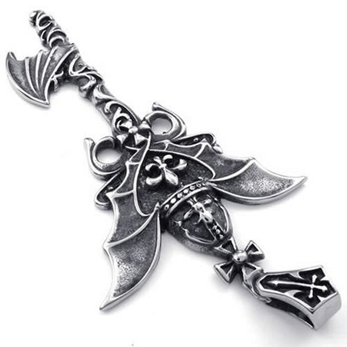 Men Dragon Wing Key Stainless Steel Pendant Necklace, Silver, 24 inch Chain - InnovatoDesign