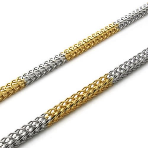 "Stainless Steel Men Necklace Chain - Gold Silver 3 mm 21.5"" - InnovatoDesign"