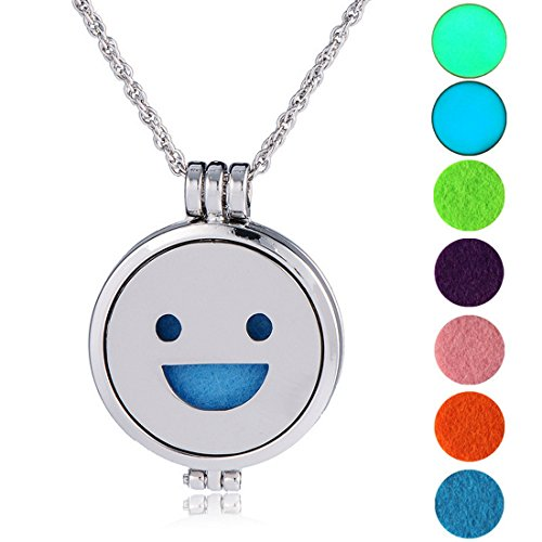 Women Necklace Smile Face Aromatherapy Essential Oil Diffuser Jewelry 61cm with 7 Gaskets - InnovatoDesign