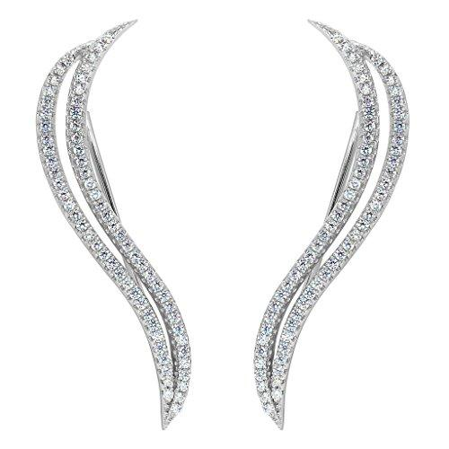 925 Sterling Silver CZ Simple S Shape Ear Cuff Wrap Sweep Hook Earrings 1 Pair Clear