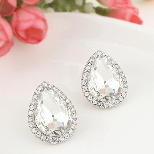 Women's Austrian Crystal Wedding Teardrop Stud Earrings - InnovatoDesign