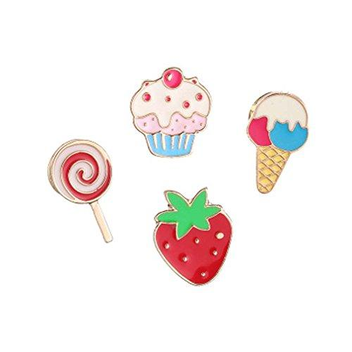 4 Pcs Strawberry Ice Cream Cake Patch Cartoon Brooch Pin Badges Set for Clothes Bags Backpacks 1.2cm